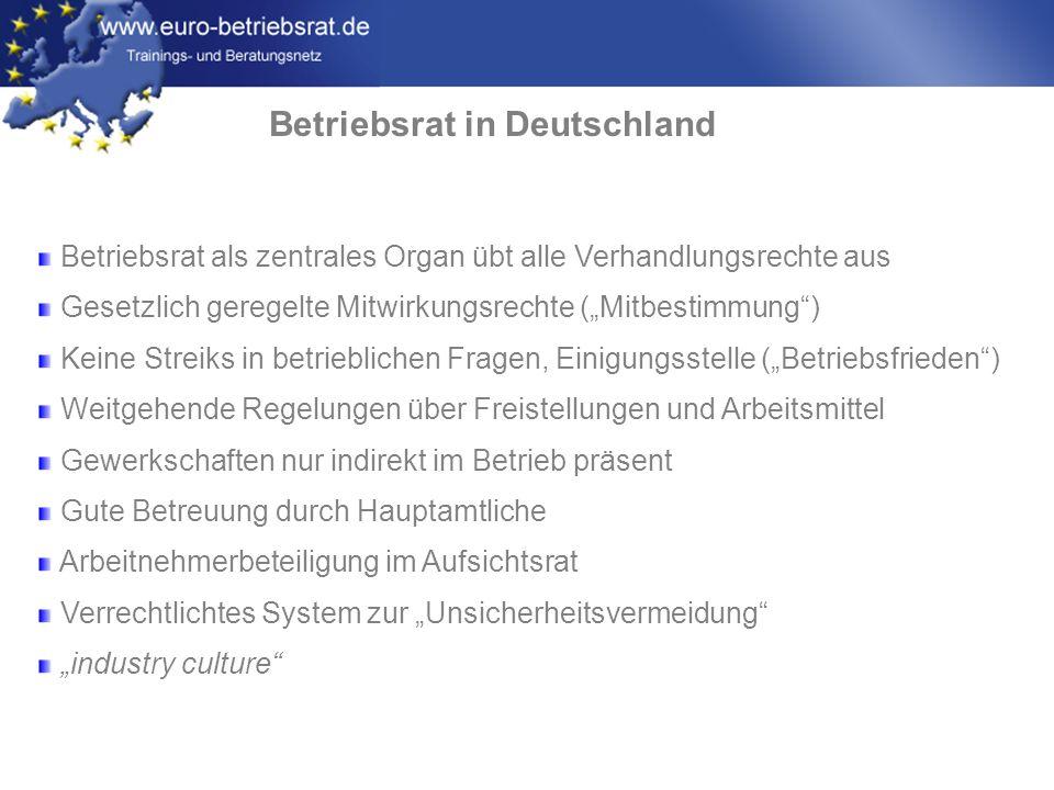 www.euro-betriebsrat.de Betriebsrat in Deutschland Betriebsrat als zentrales Organ übt alle Verhandlungsrechte aus Gesetzlich geregelte Mitwirkungsrec