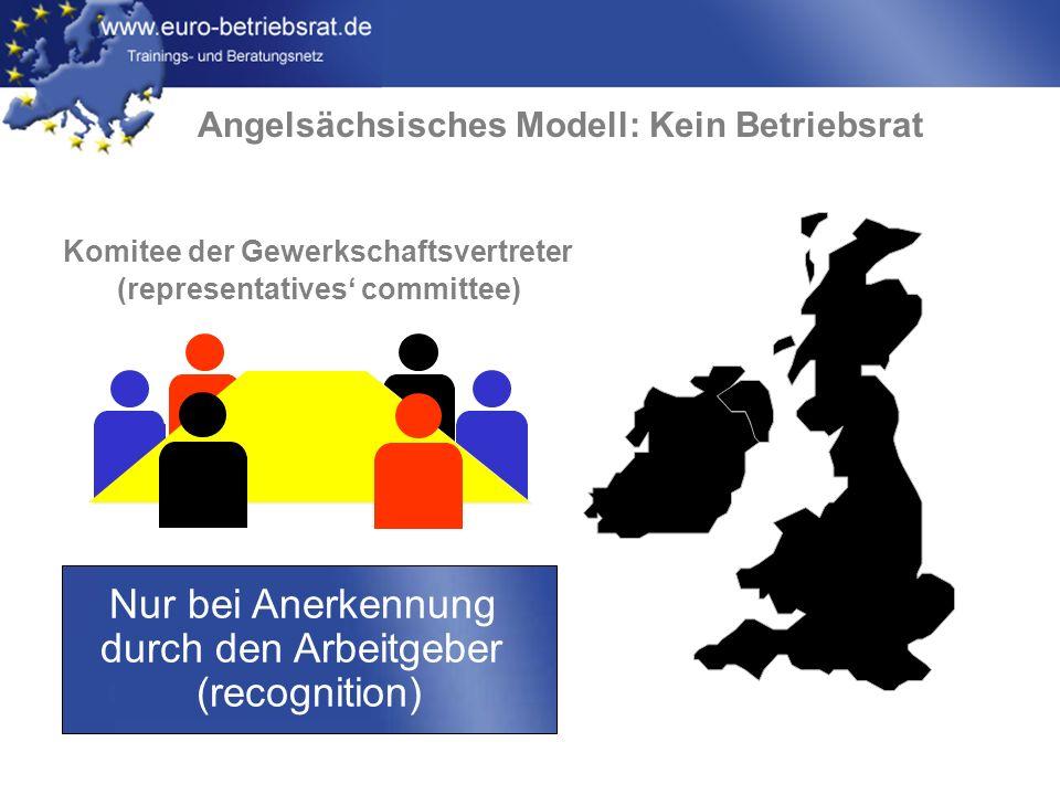 www.euro-betriebsrat.de Angelsächsisches Modell: Kein Betriebsrat Nur bei Anerkennung durch den Arbeitgeber (recognition) Komitee der Gewerkschaftsver