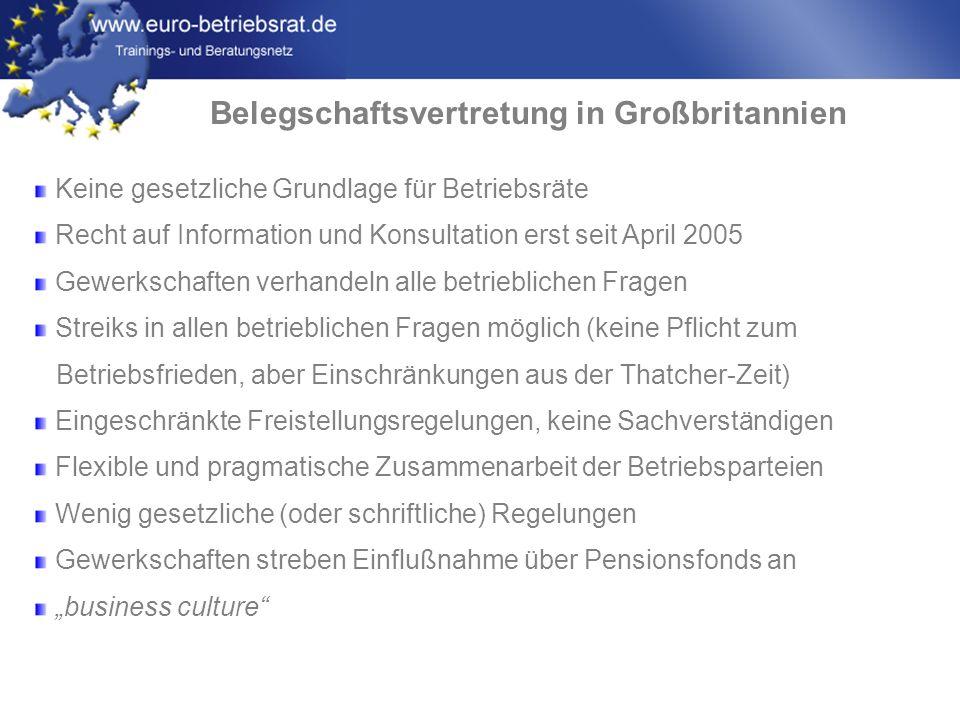 www.euro-betriebsrat.de Belegschaftsvertretung in Großbritannien Keine gesetzliche Grundlage für Betriebsräte Recht auf Information und Konsultation e