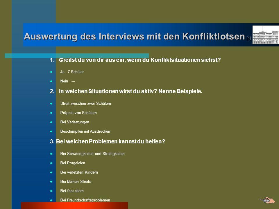 Auswertung des Interviews mit den Konfliktlotsen [1] 1. Greifst du von dir aus ein, wenn du Konfliktsituationen siehst? Ja : 7 Schüler Nein : --- 2. I