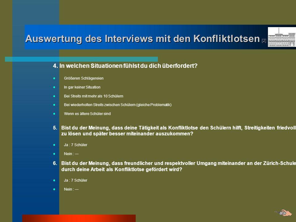 Auswertung des Interviews mit den Konfliktlotsen [2] 4. In welchen Situationen fühlst du dich überfordert? Größeren Schlägereien In gar keiner Situati