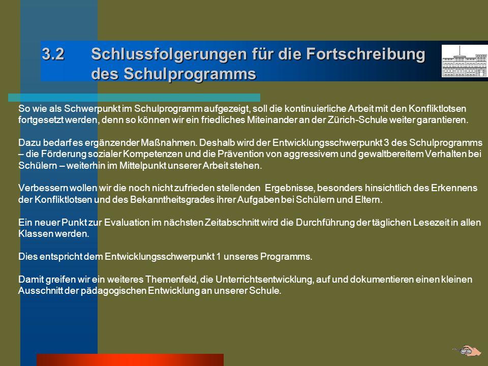 3.2 Schlussfolgerungen für die Fortschreibung des Schulprogramms So wie als Schwerpunkt im Schulprogramm aufgezeigt, soll die kontinuierliche Arbeit m