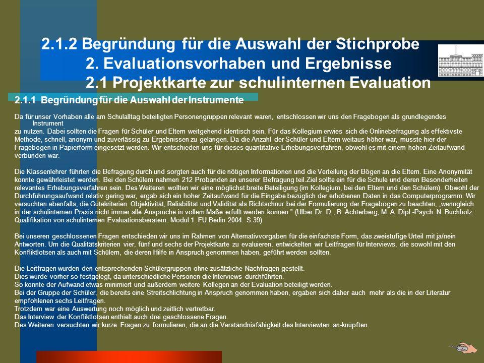 2.1.2 Begründung für die Auswahl der Stichprobe 2. Evaluationsvorhaben und Ergebnisse 2.1 Projektkarte zur schulinternen Evaluation 2.1.1 Begründung f