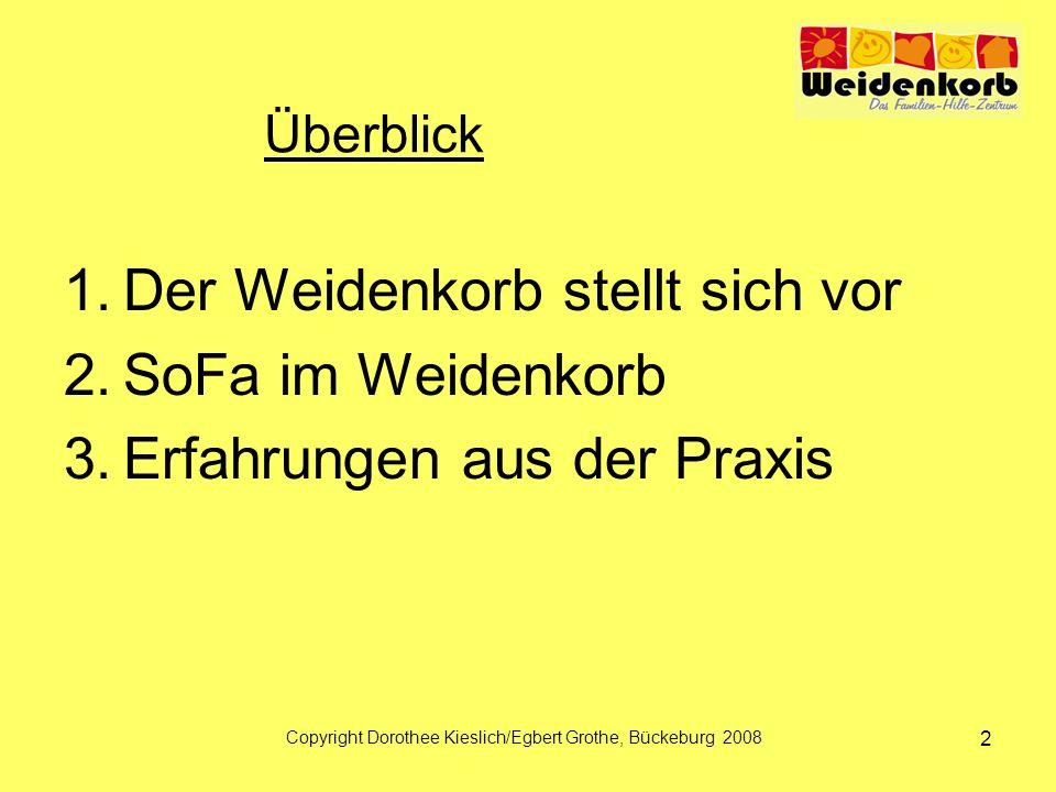Überblick 1.Der Weidenkorb stellt sich vor 2.SoFa im Weidenkorb 3.Erfahrungen aus der Praxis Copyright Dorothee Kieslich/Egbert Grothe, Bückeburg 2008 2