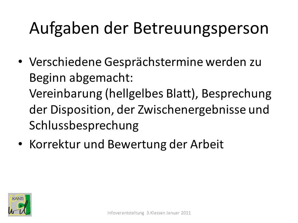 Aufgaben der Betreuungsperson Verschiedene Gesprächstermine werden zu Beginn abgemacht: Vereinbarung (hellgelbes Blatt), Besprechung der Disposition,