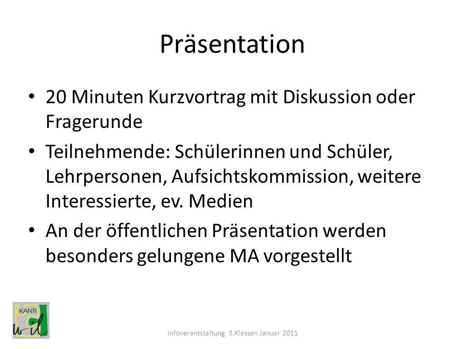 Präsentation 20 Minuten Kurzvortrag mit Diskussion oder Fragerunde Teilnehmende: Schülerinnen und Schüler, Lehrpersonen, Aufsichtskommission, weitere