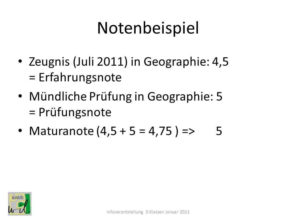 Notenbeispiel Zeugnis (Juli 2011) in Geographie: 4,5 = Erfahrungsnote Mündliche Prüfung in Geographie: 5 = Prüfungsnote Maturanote (4,5 + 5 = 4,75 ) =