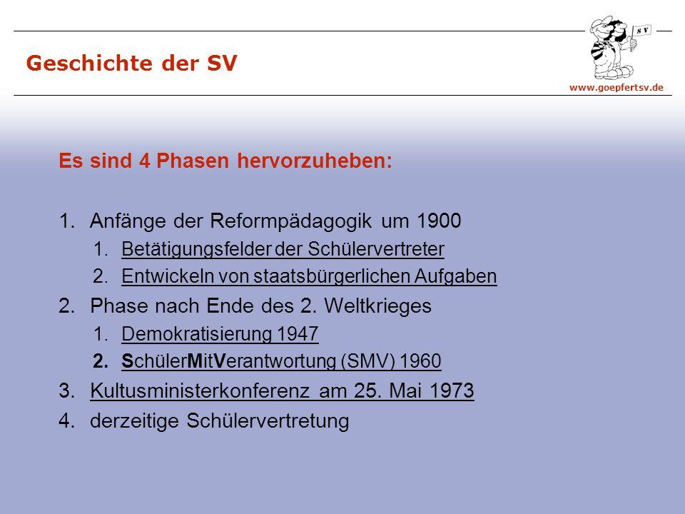 www.goepfertsv.de Abkürzungen SV = Schülervertretung SR = Schülerrat SSR = Stadtschülerrat KSR = Kreisschülerrat