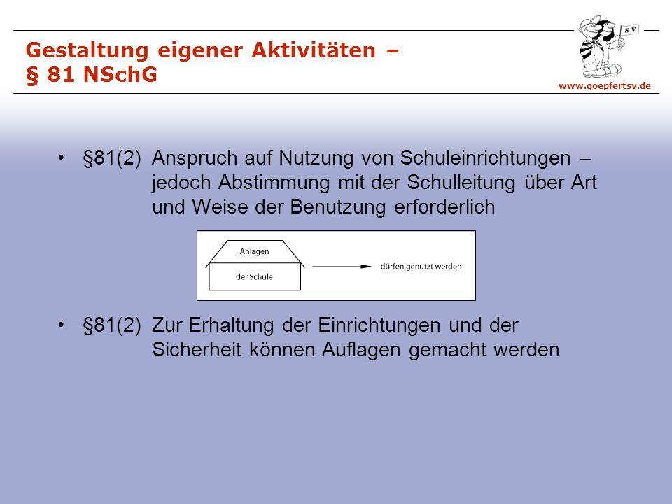 www.goepfertsv.de §81(2) Anspruch auf Nutzung von Schuleinrichtungen – jedoch Abstimmung mit der Schulleitung über Art und Weise der Benutzung erforderlich §81(2) Zur Erhaltung der Einrichtungen und der Sicherheit können Auflagen gemacht werden Gestaltung eigener Aktivitäten – § 81 NSchG