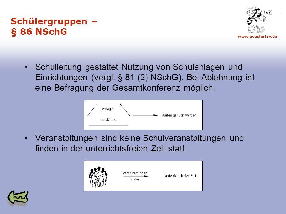 www.goepfertsv.de Schülergruppen – § 86 NSchG Schulleitung gestattet Nutzung von Schulanlagen und Einrichtungen (vergl.