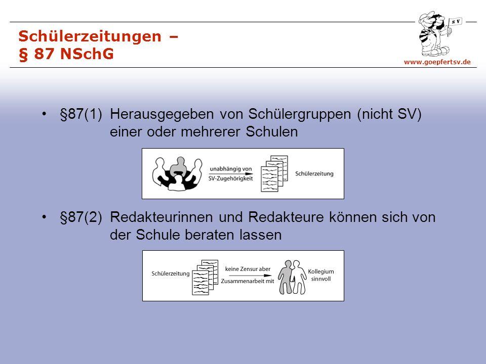www.goepfertsv.de §87(1) Herausgegeben von Schülergruppen (nicht SV) einer oder mehrerer Schulen §87(2) Redakteurinnen und Redakteure können sich von der Schule beraten lassen Schülerzeitungen – § 87 NSchG