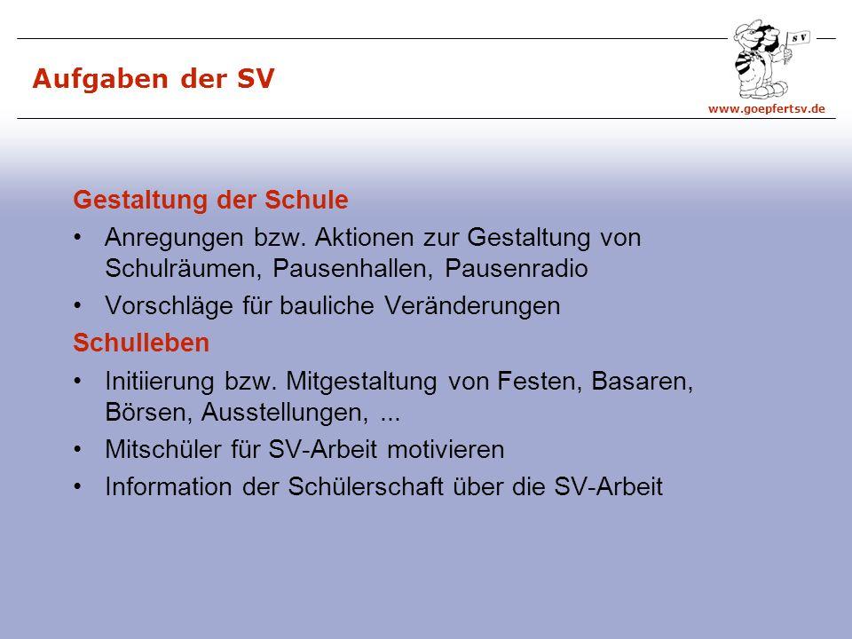 www.goepfertsv.de Aufgaben der SV Gestaltung der Schule Anregungen bzw.