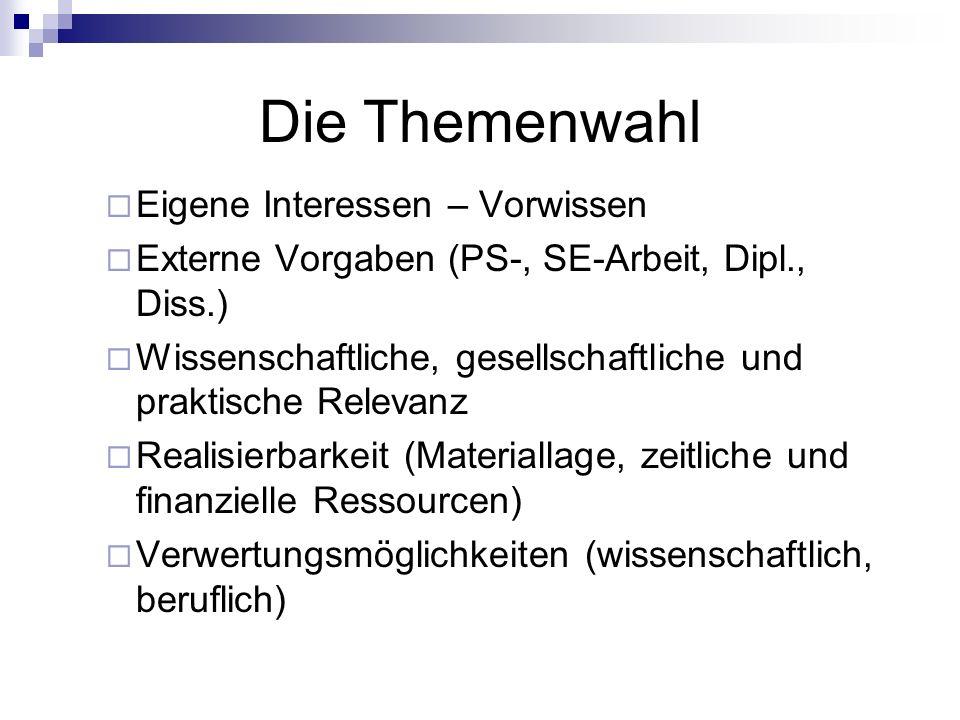 Das Forschungsexposé 2 Die Bestandteile: Thema / Zielsetzung Die Fragestellung Theorie/Methode(n) Gliederung Arbeits- und Zeitplan Auswahlbibliographie