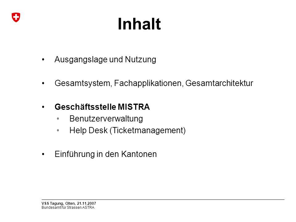 Bundesamt für Strassen ASTRA VSS Tagung, Olten, 21.11.2007 Ausgangslage und Nutzung Gesamtsystem, Fachapplikationen, Gesamtarchitektur Geschäftsstelle