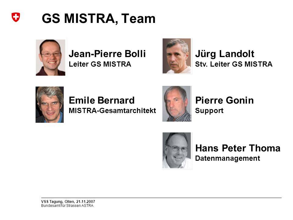 Bundesamt für Strassen ASTRA VSS Tagung, Olten, 21.11.2007 GS MISTRA, Team Pierre Gonin Support Hans Peter Thoma Datenmanagement Emile Bernard MISTRA-