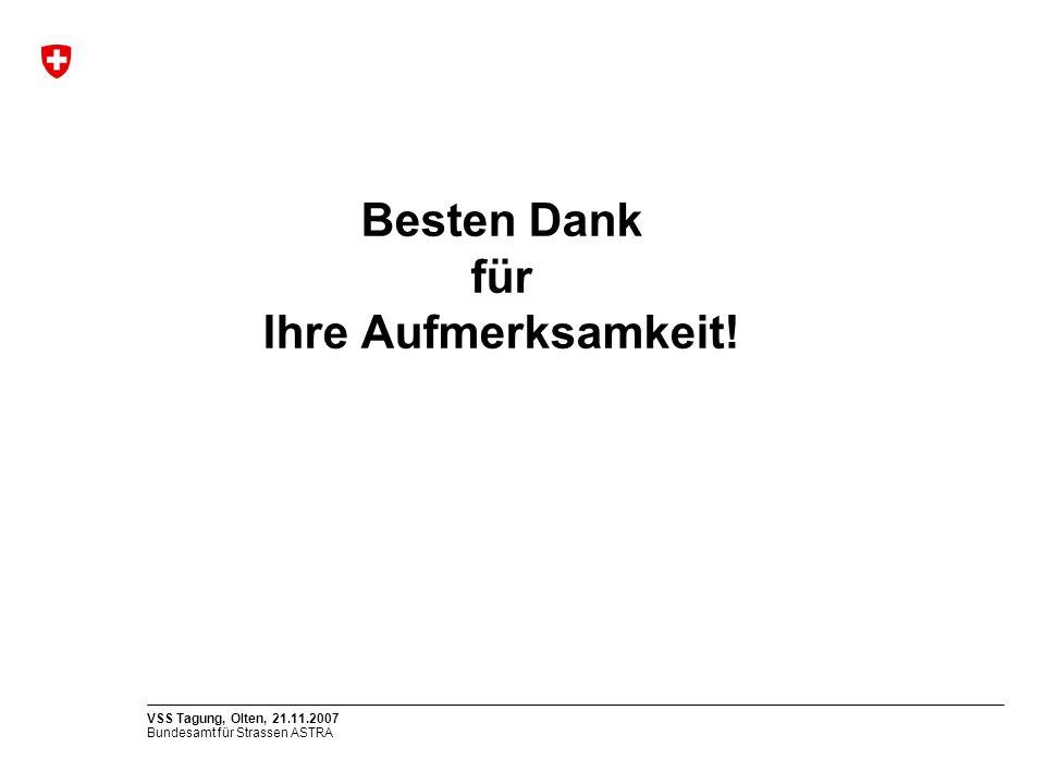 Bundesamt für Strassen ASTRA VSS Tagung, Olten, 21.11.2007 Besten Dank für Ihre Aufmerksamkeit!