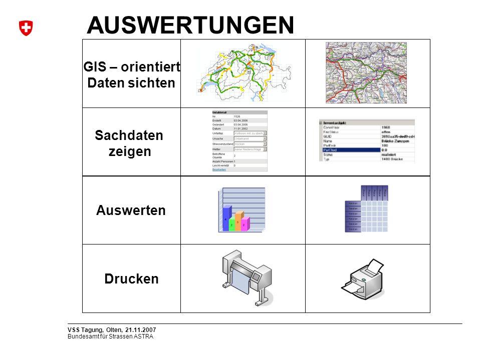 Bundesamt für Strassen ASTRA VSS Tagung, Olten, 21.11.2007 Sachdaten zeigen GIS – orientiert Daten sichten Auswerten Drucken AUSWERTUNGEN