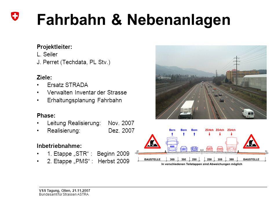 Bundesamt für Strassen ASTRA VSS Tagung, Olten, 21.11.2007 Projektleiter: L. Seiler J. Perret (Techdata, PL Stv.) Ziele: Ersatz STRADA Verwalten Inven