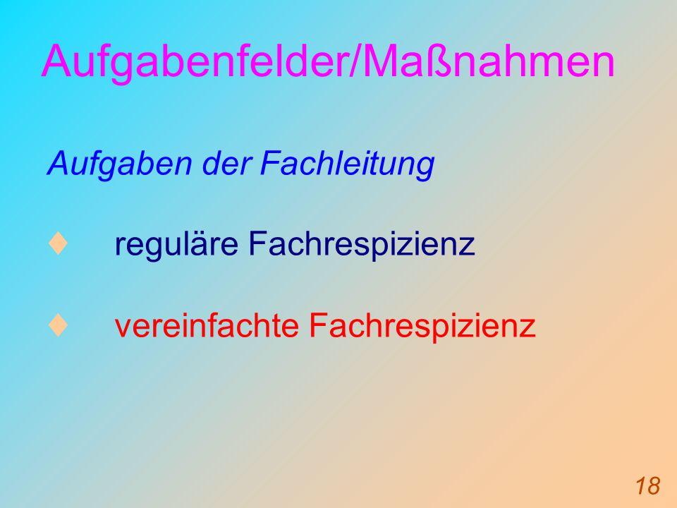 18 Aufgabenfelder/Maßnahmen Aufgaben der Fachleitung reguläre Fachrespizienz vereinfachte Fachrespizienz