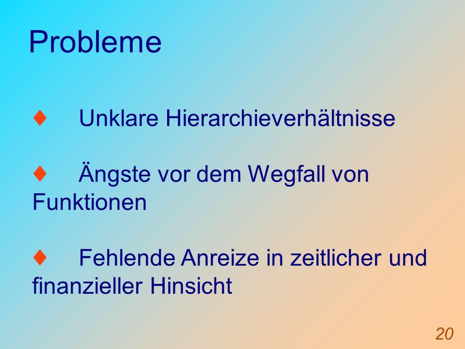 20 Probleme Unklare Hierarchieverhältnisse Ängste vor dem Wegfall von Funktionen Fehlende Anreize in zeitlicher und finanzieller Hinsicht