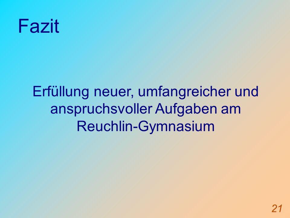 21 Fazit Erfüllung neuer, umfangreicher und anspruchsvoller Aufgaben am Reuchlin-Gymnasium