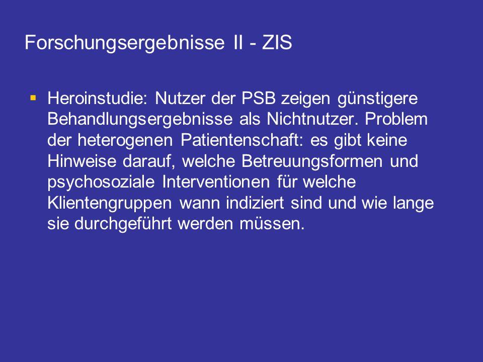 Forschungsergebnisse II - ZIS Heroinstudie: Nutzer der PSB zeigen günstigere Behandlungsergebnisse als Nichtnutzer. Problem der heterogenen Patientens