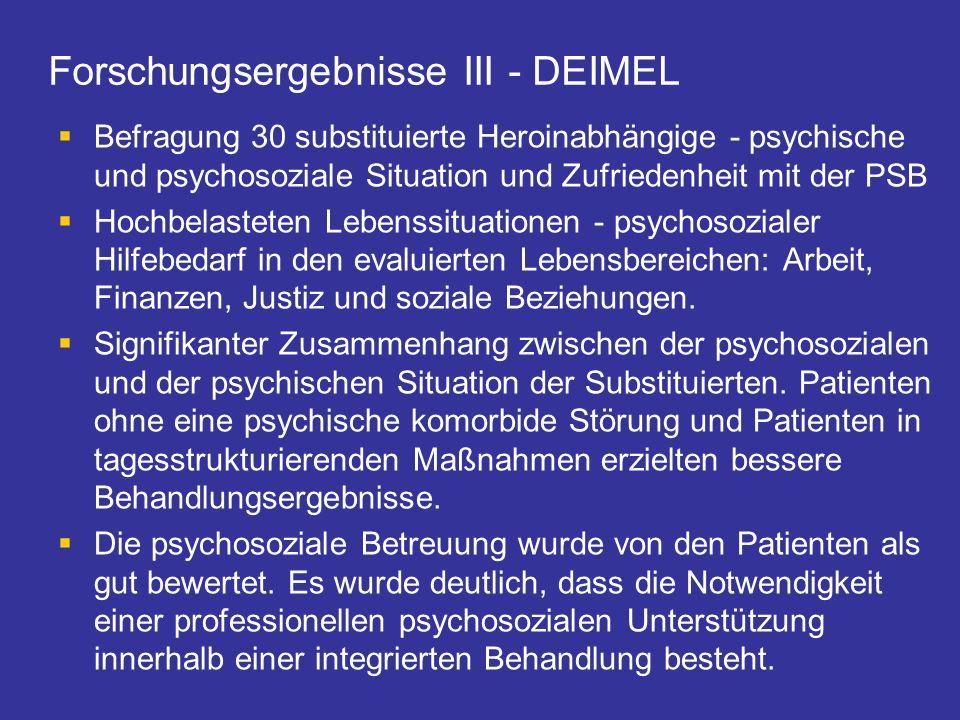 Forschungsergebnisse III - DEIMEL Befragung 30 substituierte Heroinabhängige - psychische und psychosoziale Situation und Zufriedenheit mit der PSB Ho