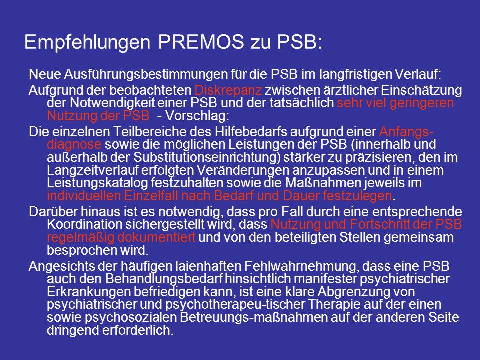 Empfehlungen PREMOS zu PSB: Neue Ausführungsbestimmungen für die PSB im langfristigen Verlauf: Aufgrund der beobachteten Diskrepanz zwischen ärztliche