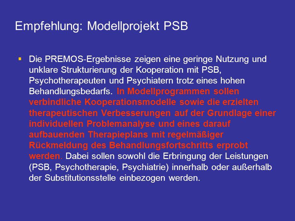 Empfehlung: Modellprojekt PSB Die PREMOS-Ergebnisse zeigen eine geringe Nutzung und unklare Strukturierung der Kooperation mit PSB, Psychotherapeuten