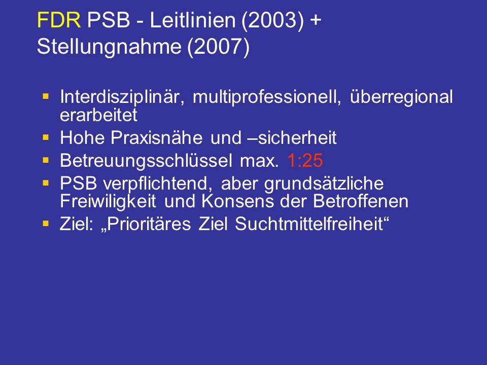 FDR PSB - Leitlinien (2003) + Stellungnahme (2007) Interdisziplinär, multiprofessionell, überregional erarbeitet Hohe Praxisnähe und –sicherheit Betre