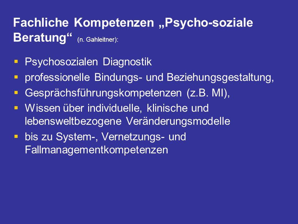 Fachliche Kompetenzen Psycho-soziale Beratung (n. Gahleitner): Psychosozialen Diagnostik professionelle Bindungs- und Beziehungsgestaltung, Gesprächsf