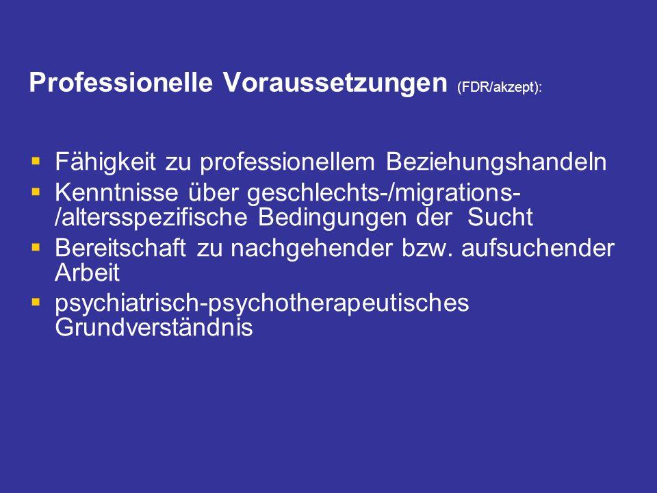 Professionelle Voraussetzungen (FDR/akzept): Fähigkeit zu professionellem Beziehungshandeln Kenntnisse über geschlechts-/migrations- /altersspezifisch