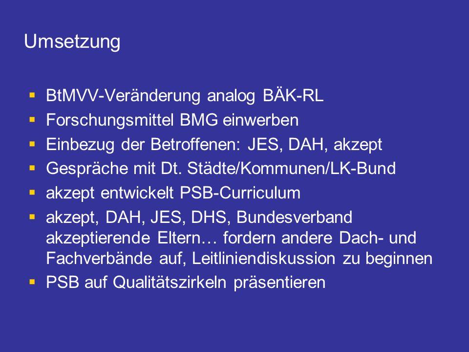 Umsetzung BtMVV-Veränderung analog BÄK-RL Forschungsmittel BMG einwerben Einbezug der Betroffenen: JES, DAH, akzept Gespräche mit Dt. Städte/Kommunen/