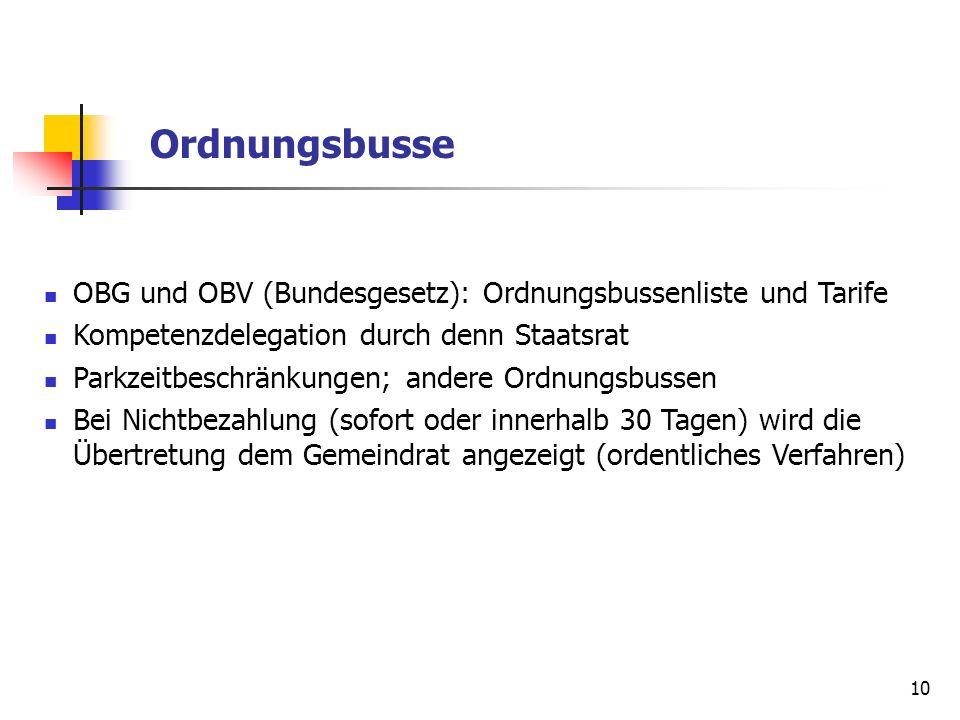 10 Ordnungsbusse OBG und OBV (Bundesgesetz): Ordnungsbussenliste und Tarife Kompetenzdelegation durch denn Staatsrat Parkzeitbeschränkungen; andere Or
