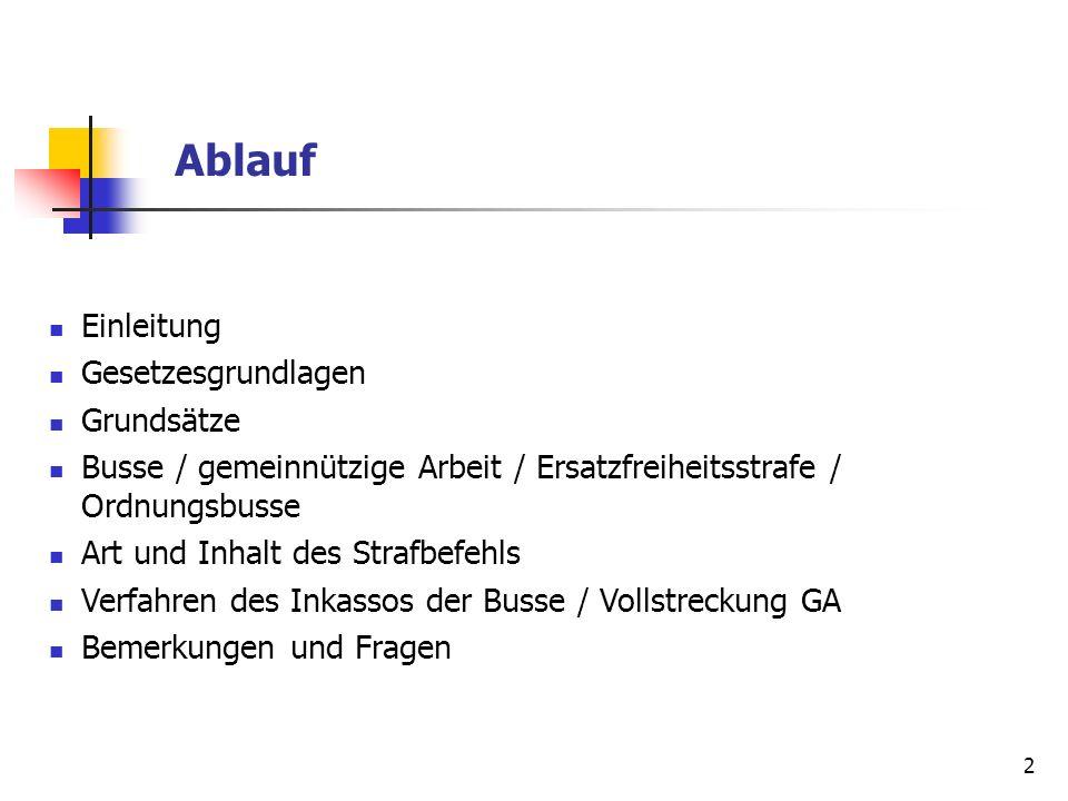 2 Einleitung Gesetzesgrundlagen Grundsätze Busse / gemeinnützige Arbeit / Ersatzfreiheitsstrafe / Ordnungsbusse Art und Inhalt des Strafbefehls Verfah