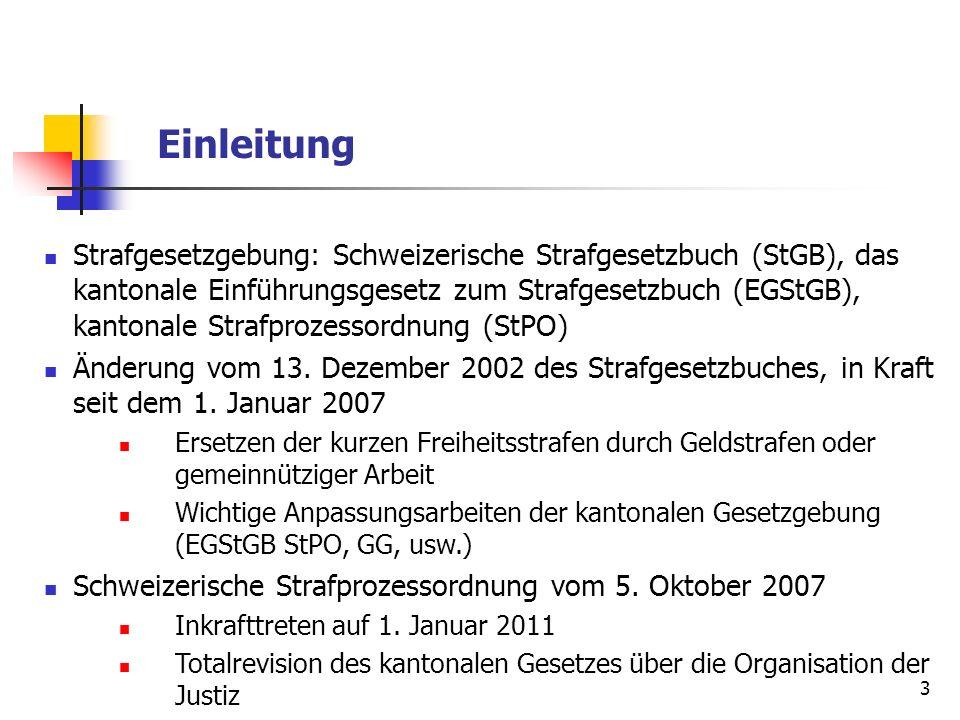3 Einleitung Strafgesetzgebung: Schweizerische Strafgesetzbuch (StGB), das kantonale Einführungsgesetz zum Strafgesetzbuch (EGStGB), kantonale Strafpr