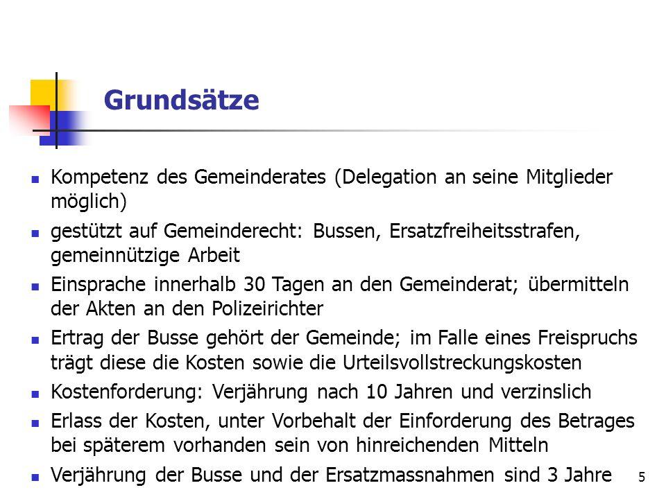 5 Grundsätze Kompetenz des Gemeinderates (Delegation an seine Mitglieder möglich) gestützt auf Gemeinderecht: Bussen, Ersatzfreiheitsstrafen, gemeinnü
