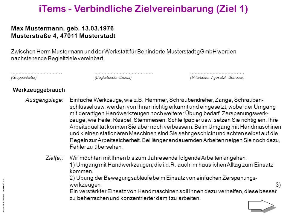 iTems - Verbindliche Zielvereinbarung (Ziel 1) Max Mustermann, geb.