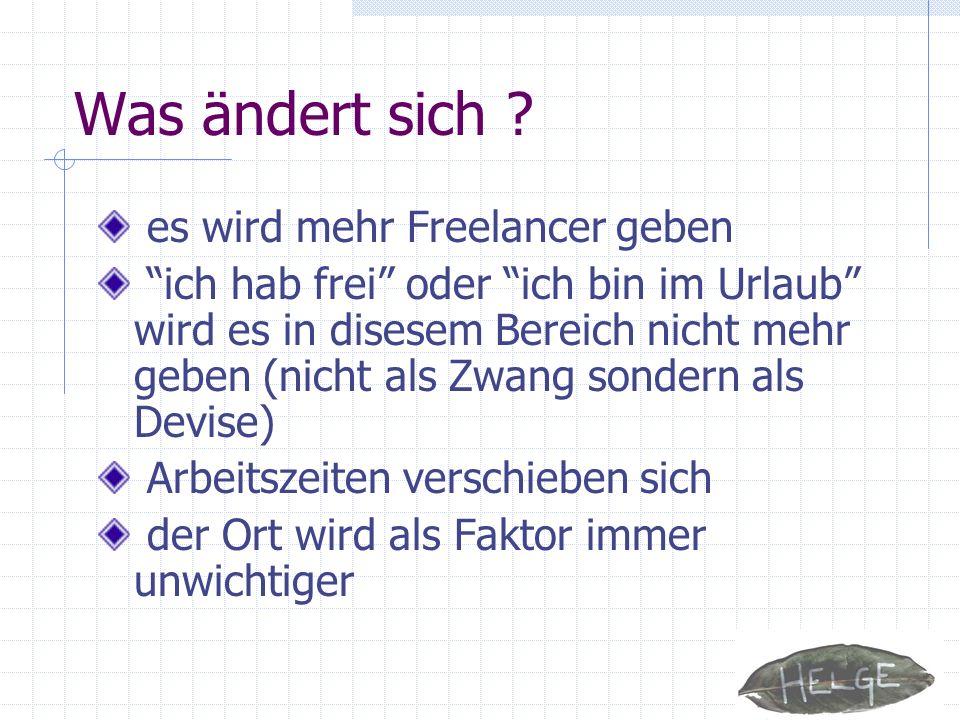 Quellen Fraunhofer Office Innovation Center Verein für Zweitnormalität Work-Life-Balance Man Der neue Popcorn Report – Trends für unsere Zukunft, Faith Popcorn, München, 1996 Neue Selbständige – zurück in der alten Welt.