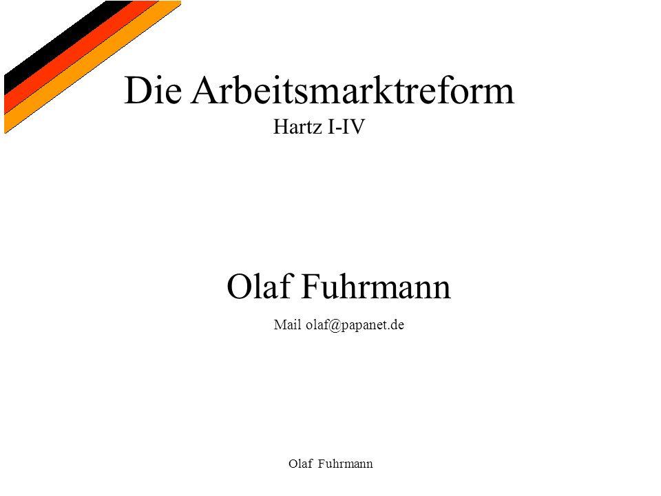 Die Arbeitsmarktreform Hartz I-IV Olaf Fuhrmann Kommission Moderne Dienstleistungen am Arbeitsmarkt Dr.