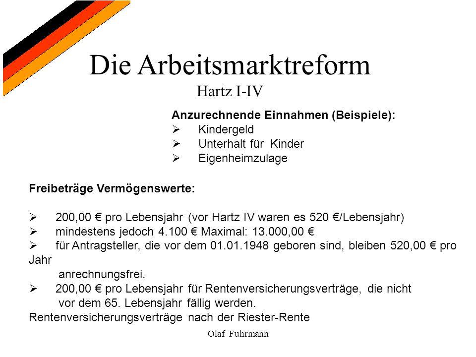 Die Arbeitsmarktreform Hartz I-IV Olaf Fuhrmann Anzurechnende Einnahmen (Beispiele): Kindergeld Unterhalt für Kinder Eigenheimzulage Freibeträge Vermö