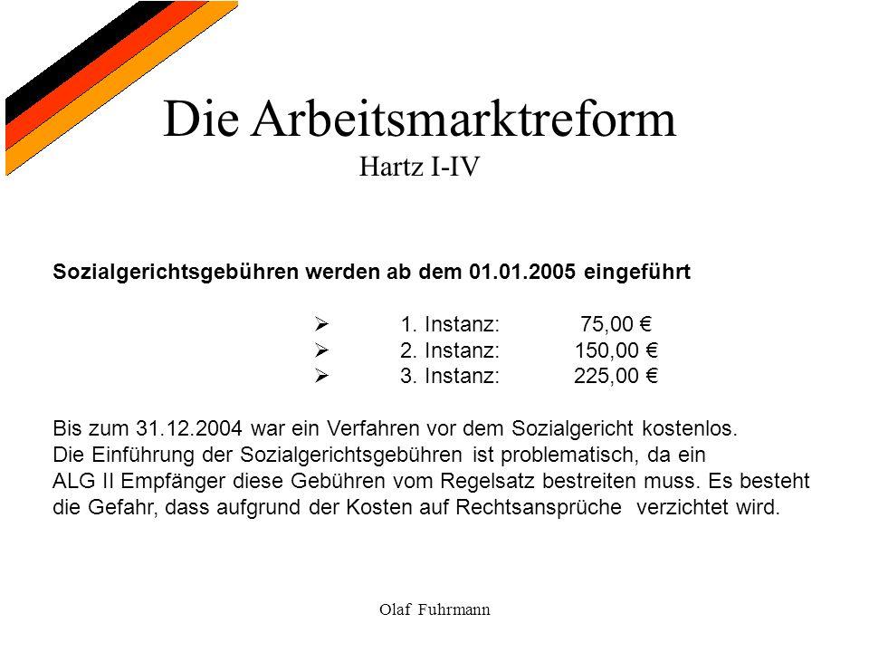 Die Arbeitsmarktreform Hartz I-IV Olaf Fuhrmann Sozialgerichtsgebühren werden ab dem 01.01.2005 eingeführt 1. Instanz: 75,00 2. Instanz:150,00 3. Inst