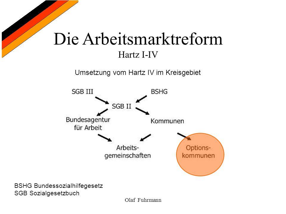 Die Arbeitsmarktreform Hartz I-IV Olaf Fuhrmann Umsetzung vom Hartz IV im Kreisgebiet BSHG Bundessozialhilfegesetz SGB Sozialgesetzbuch