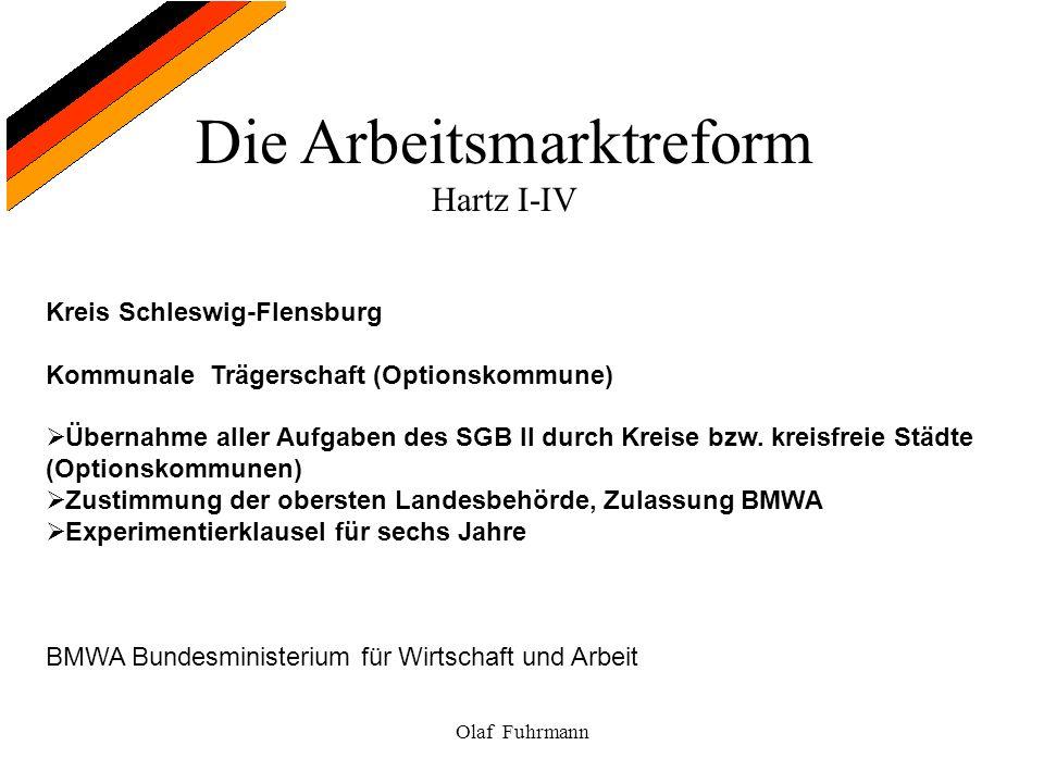 Die Arbeitsmarktreform Hartz I-IV Olaf Fuhrmann Kreis Schleswig-Flensburg Kommunale Trägerschaft (Optionskommune) Übernahme aller Aufgaben des SGB II