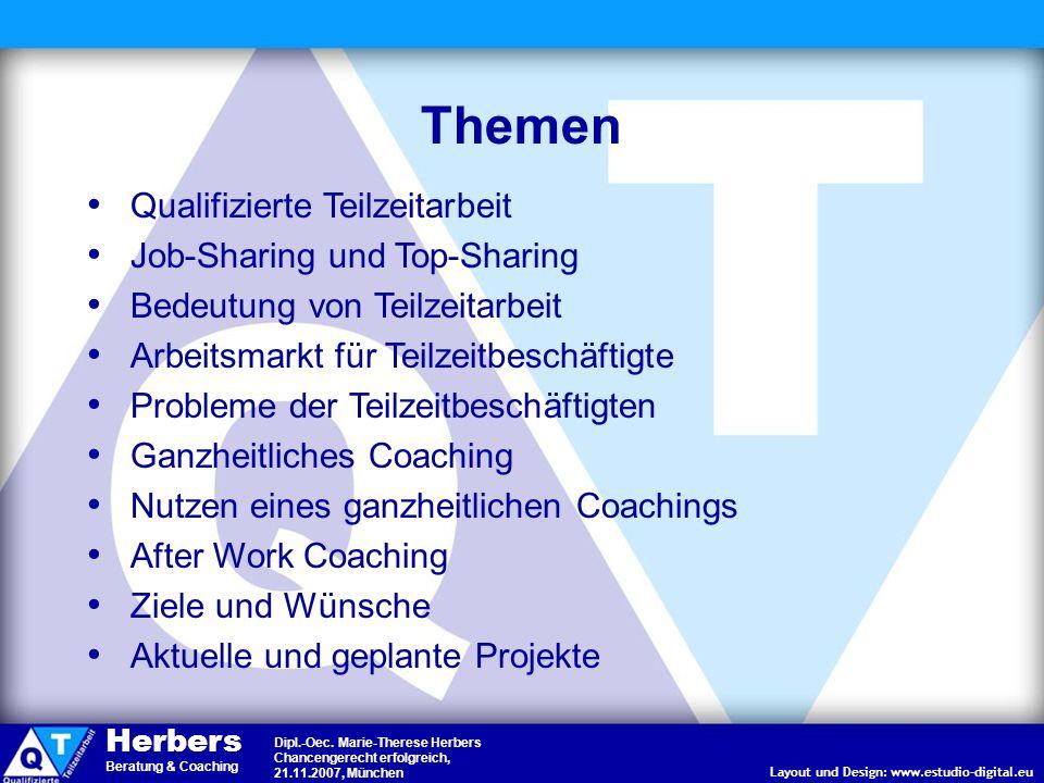 Layout und Design: www.estudio-digital.eu Dipl.-Oec. Marie-Therese Herbers Chancengerecht erfolgreich, 21.11.2007, München Herbers Beratung & Coaching