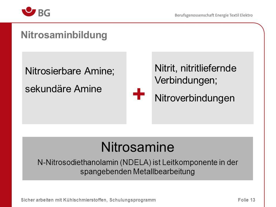 Nitrosaminbildung – Leitkomponente, NDELA 08.03.2014Sicher arbeiten mit Kühlschmierstoffen, SchulungsprogrammFolie 14 N-Nitrosodiethanolamin (NDELA) ist Leitkomponente in der spangebenden Metallbearbeitung (TRGS 552) N-Nitrosodi ethanol amin Nitroso Ethanol CH OH O = N - N 24 - OH Amin Ethanol CH 24 - 2,2-(Nitrosoimino)bisethanol