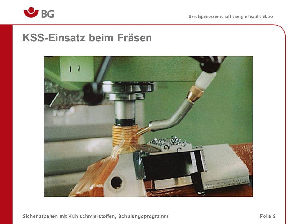 KSS-Einsatz beim Rundschleifen 08.03.2014Sicher arbeiten mit Kühlschmierstoffen, SchulungsprogrammFolie 3