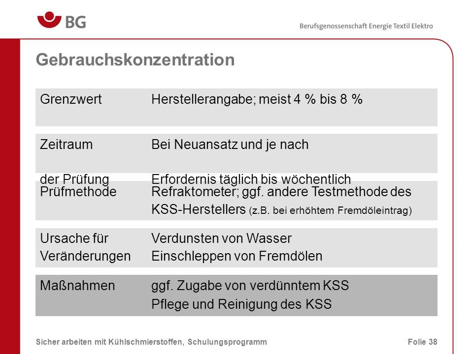Konzentrationsbestimmung mittels Handrefraktometer 08.03.2014Sicher arbeiten mit Kühlschmierstoffen, SchulungsprogrammFolie 39