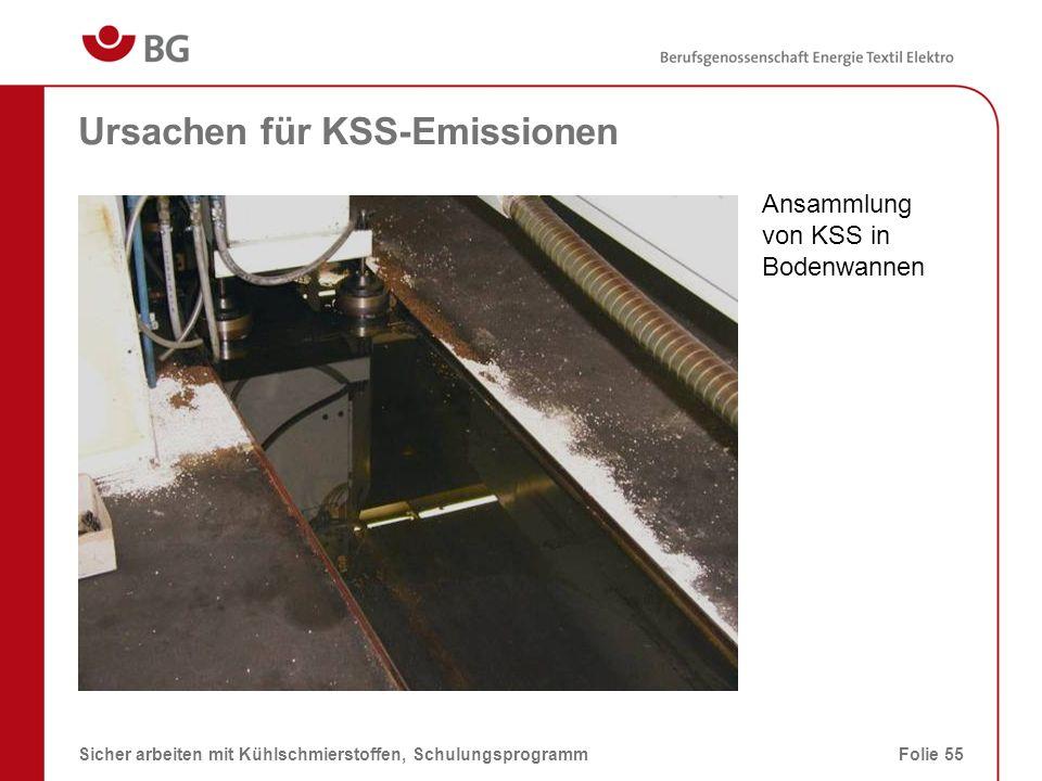 Spänewagen – Ursachen für KSS-Emissionen 08.03.2014Sicher arbeiten mit Kühlschmierstoffen, SchulungsprogrammFolie 56 Verdunsten des KSS von ggf.