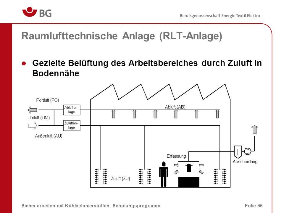 Luftführung Ideale Luftführung für thermikunterstützte Emissionen 08.03.2014Sicher arbeiten mit Kühlschmierstoffen, SchulungsprogrammFolie 67